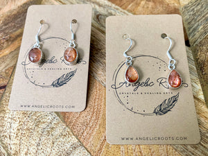 Sunstone Drop Sterling Earrings