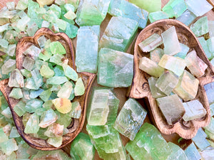Green Calcite Rough Tumbled Stone