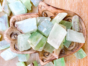 Green Calcite Rough Tumbled Stone - Medium