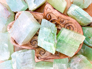 Green Calcite Rough Tumbled Stone - Large