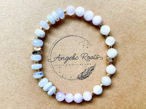 Spring Collection || Blue Lace Agate & Faceted Kunzite with Gold Butterfly Charm Beaded Bracelet