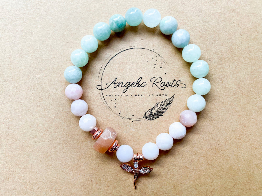 Spring Collection || Burmese Jade, Pink Opal & Peach Moonstone with Fairy Charm Beaded Bracelet