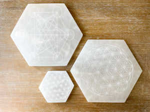 Engraved Selenite Hexagon Charging Plate