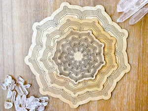 Lotus Wooden Crystal Grid Template