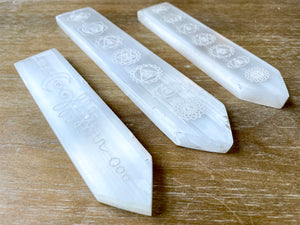 Engraved Selenite Pointed Ruler Charging Plate