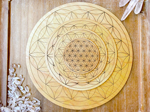 Flower of Life Wooden Crystal Grid Template