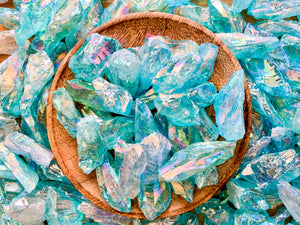 Blue Angel Aura Quartz Rough Tumbled Stone