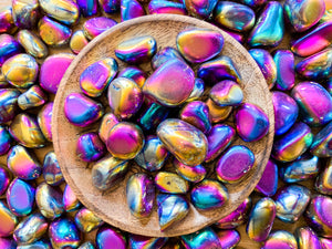 Rainbow Aura Quartz Tumbled Stone