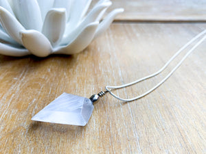 Selenite Diamond Pendant Necklace