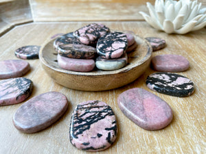 Rhodonite Flat Palm Stone