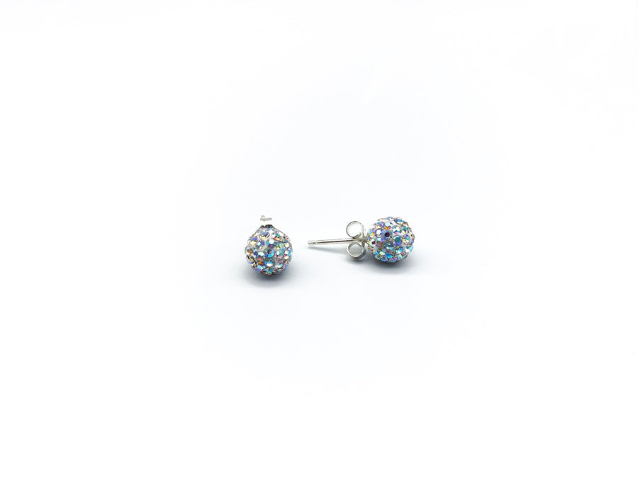 Crystal Silver Plated Pave Ball Earrings Rainbow