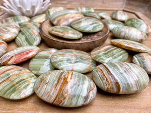 Green Banded Onyx Palm Stone