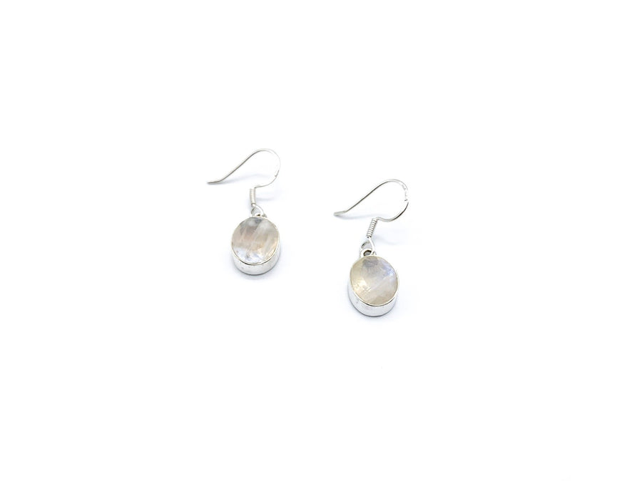 Moonstone Faceted Oval Drop Earrings