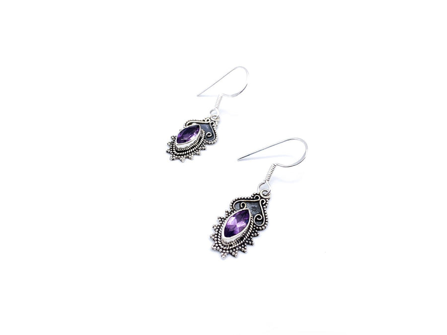 Vintage Style Pointed Oval Amethyst Drop Earrings