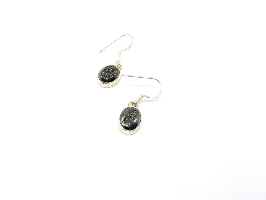 Black Druzy Quartz Oval Drop Earrings