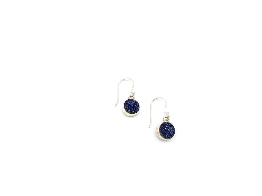 Blue Druzy Quartz Round Drop Earrings
