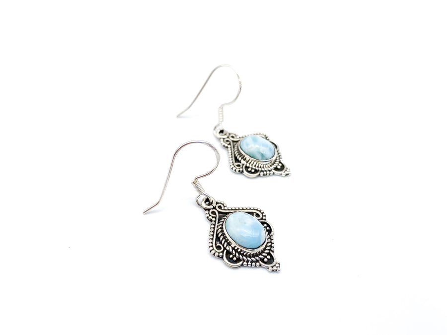 Vintage Style Oval Larimar Drop Earrings