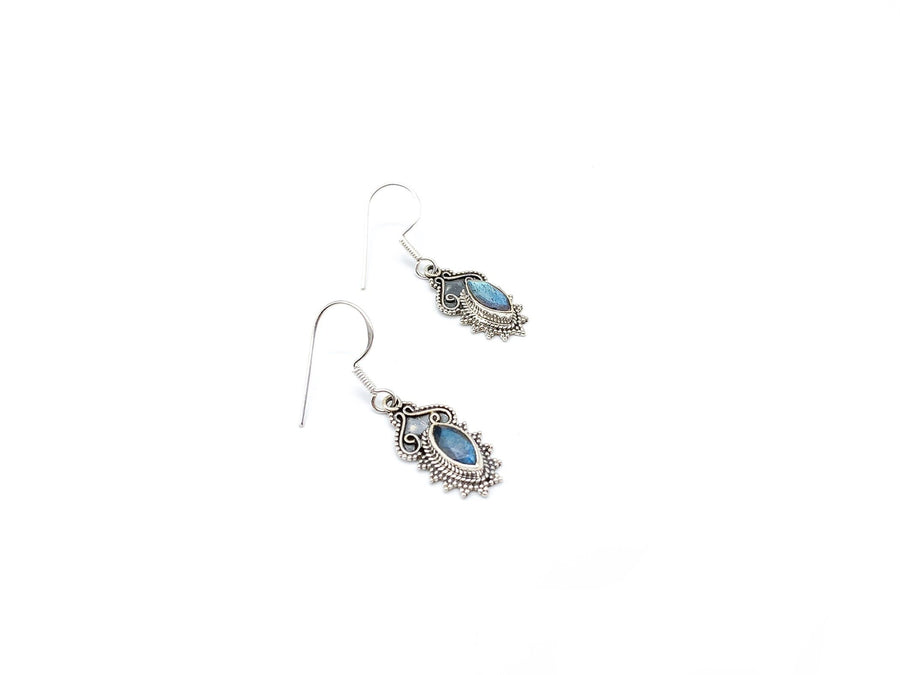 Vintage Style Pointed Oval Labradorite Drop Earrings