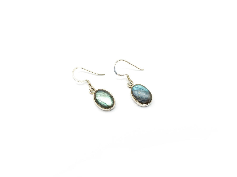 Labradorite Large Oval Drop Earrings