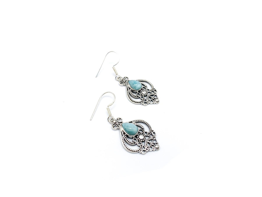 Vintage Style Teardrop Larimar Drop Earrings