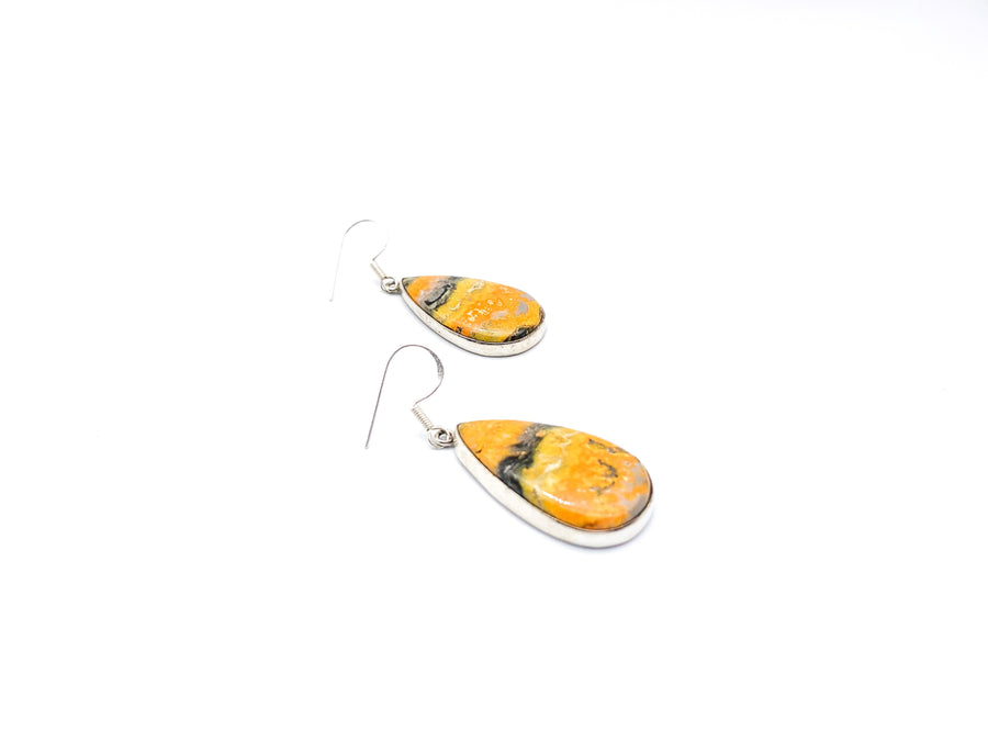 Bumble Bee Jasper Large Teardrop Drop Earrings