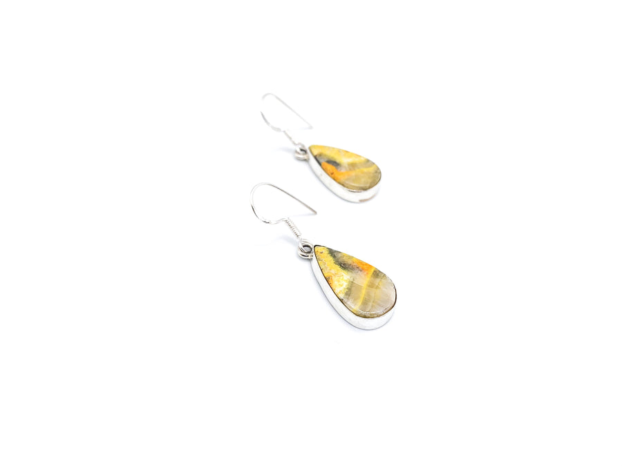 Bumble Bee Jasper Small Teardrop Drop Earrings