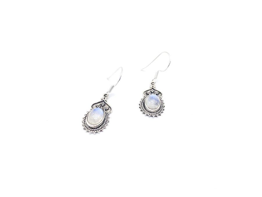 Vintage Style Oval Moonstone Drop Earrings