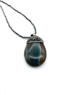 Green Agate & Hematite Pendant Necklace