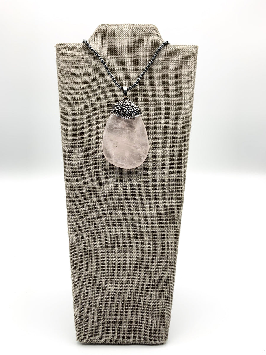 Rose Quartz & Hematite Pendant Necklace
