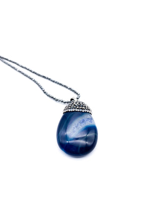 Blue Agate & Hematite Pendant Necklace