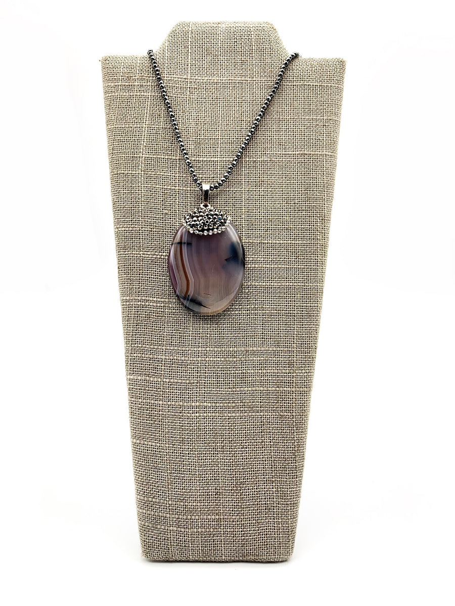 Dragon Vein Agate & Hematite Pendant Necklace
