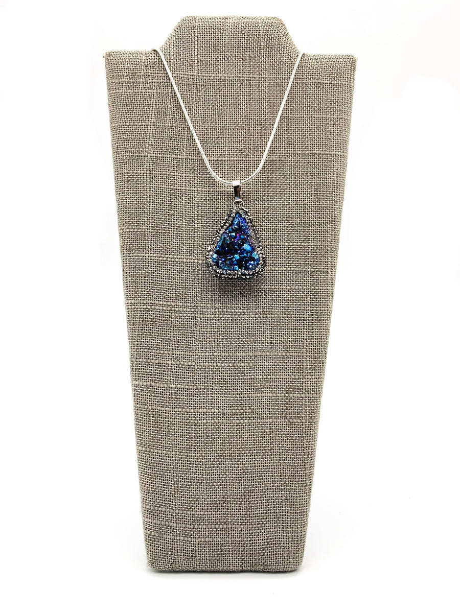 Iridescent Blue Druzy Quartz, Hematite, & CZ Pendant Necklace