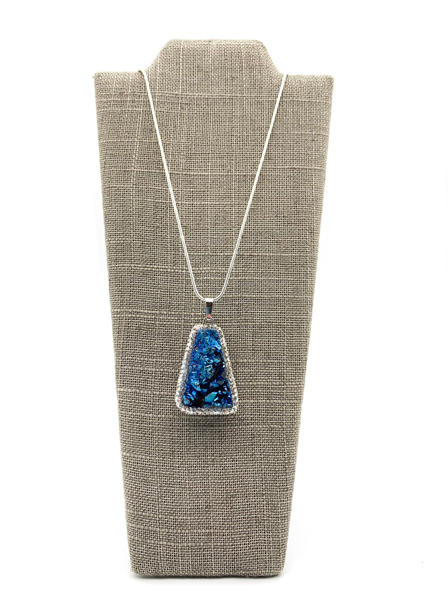 Iridescent Blue Druzy Quartz & CZ Pendant Necklace