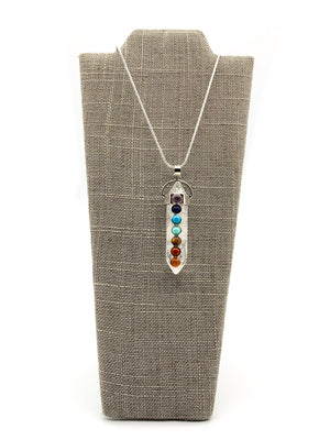 Crystal Double Point Pendant Chakra Necklace Clear Quartz