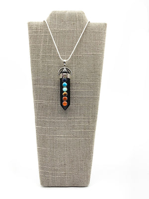 Crystal Double Point Pendant Chakra Necklace Black Onyx