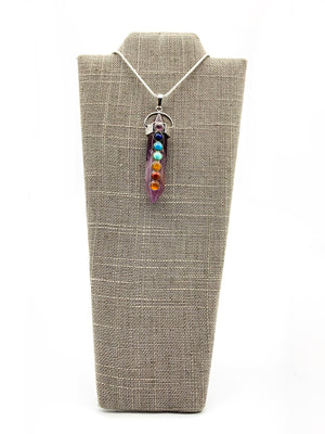 Crystal Double Point Pendant Chakra Necklace Amethyst