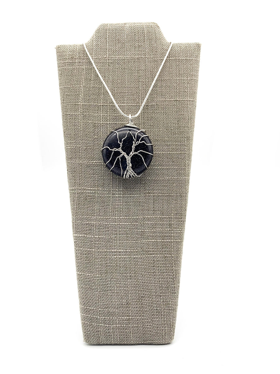 Wire Wrapped Tree of Life Crystal Round Long Necklace Blue Sandstone