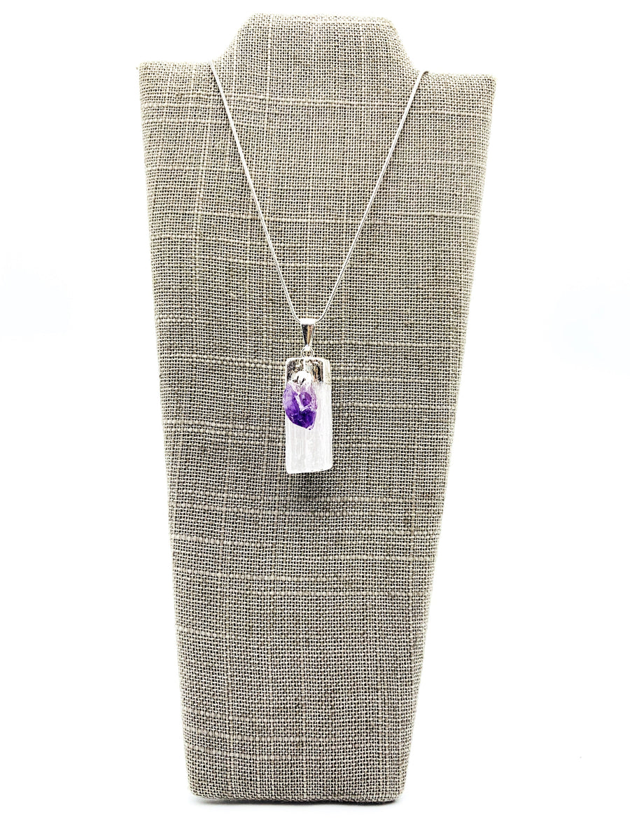 Selenite & Amethyst Silver Dipped Pendant Necklace