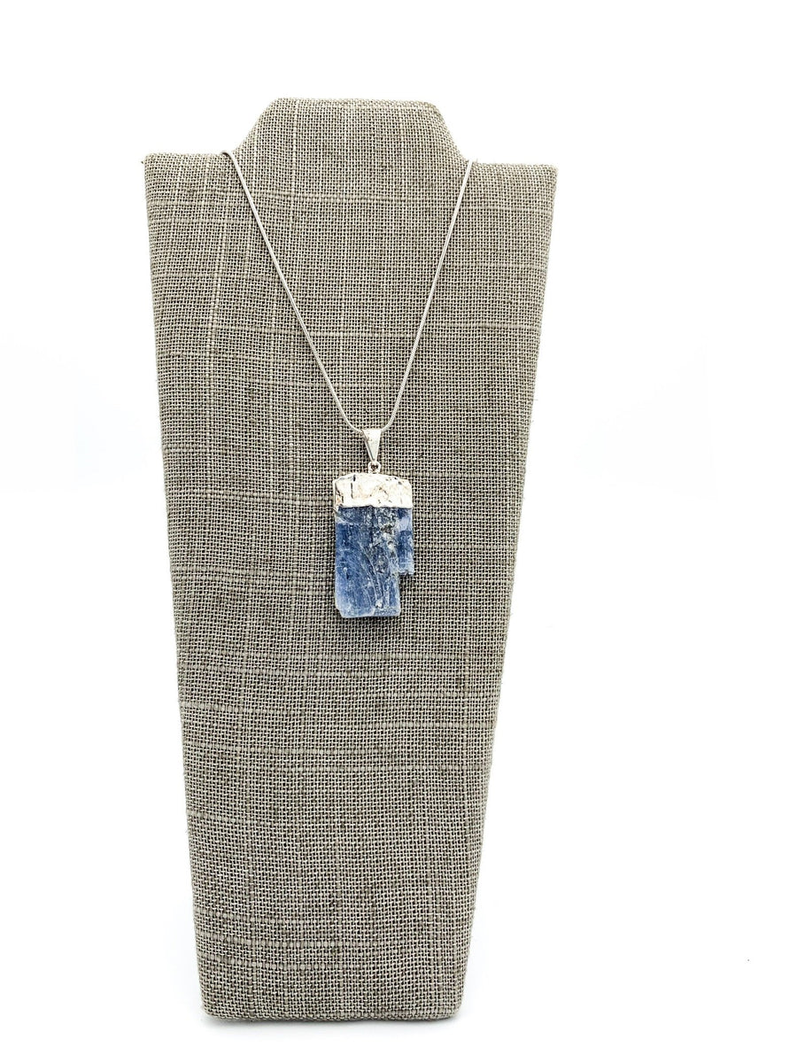 Kyanite Silver Dipped Pendant Necklace
