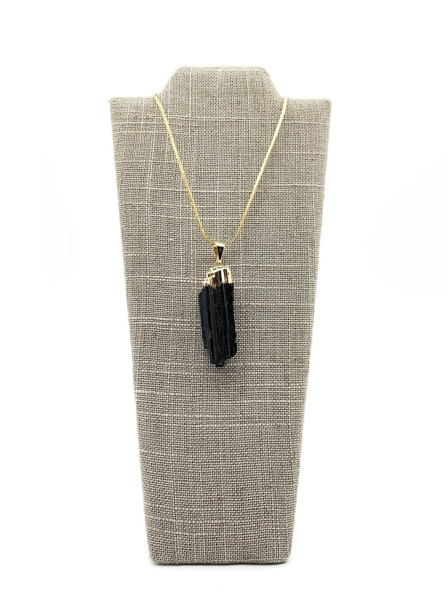 Tourmaline Gold Dipped Pendant Necklace