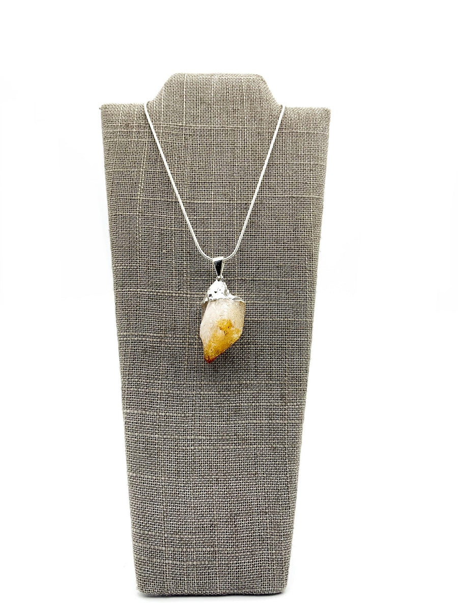 Citrine Silver Dipped Pendant Necklace