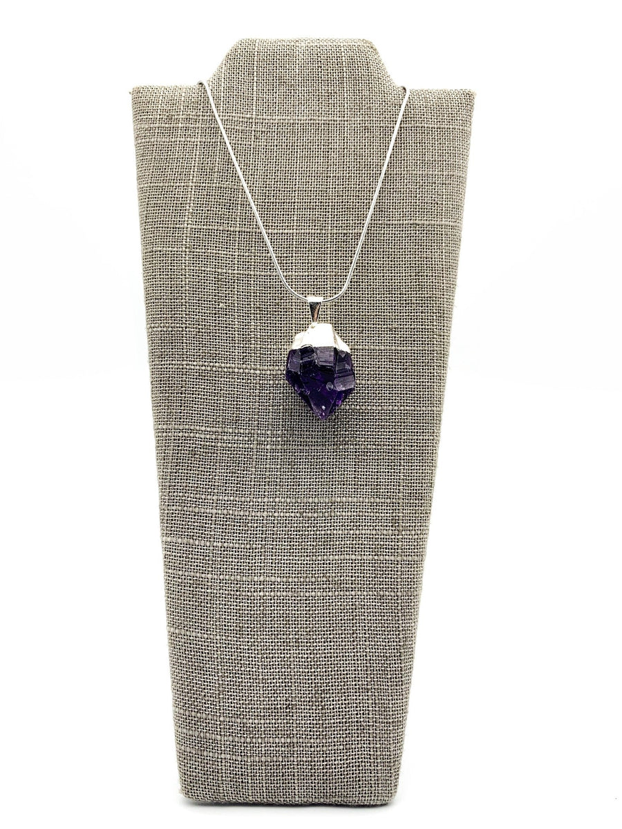 Amethyst Silver Dipped Pendant Necklace