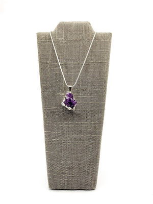 Amethyst Cluster Silver Dipped Small Pendant Necklace