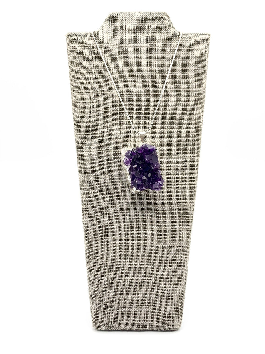 Amethyst Cluster Silver Dipped Large Pendant Necklace