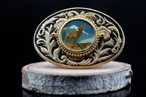 Vintage Wildlife Belt Buckle Mountain Elk