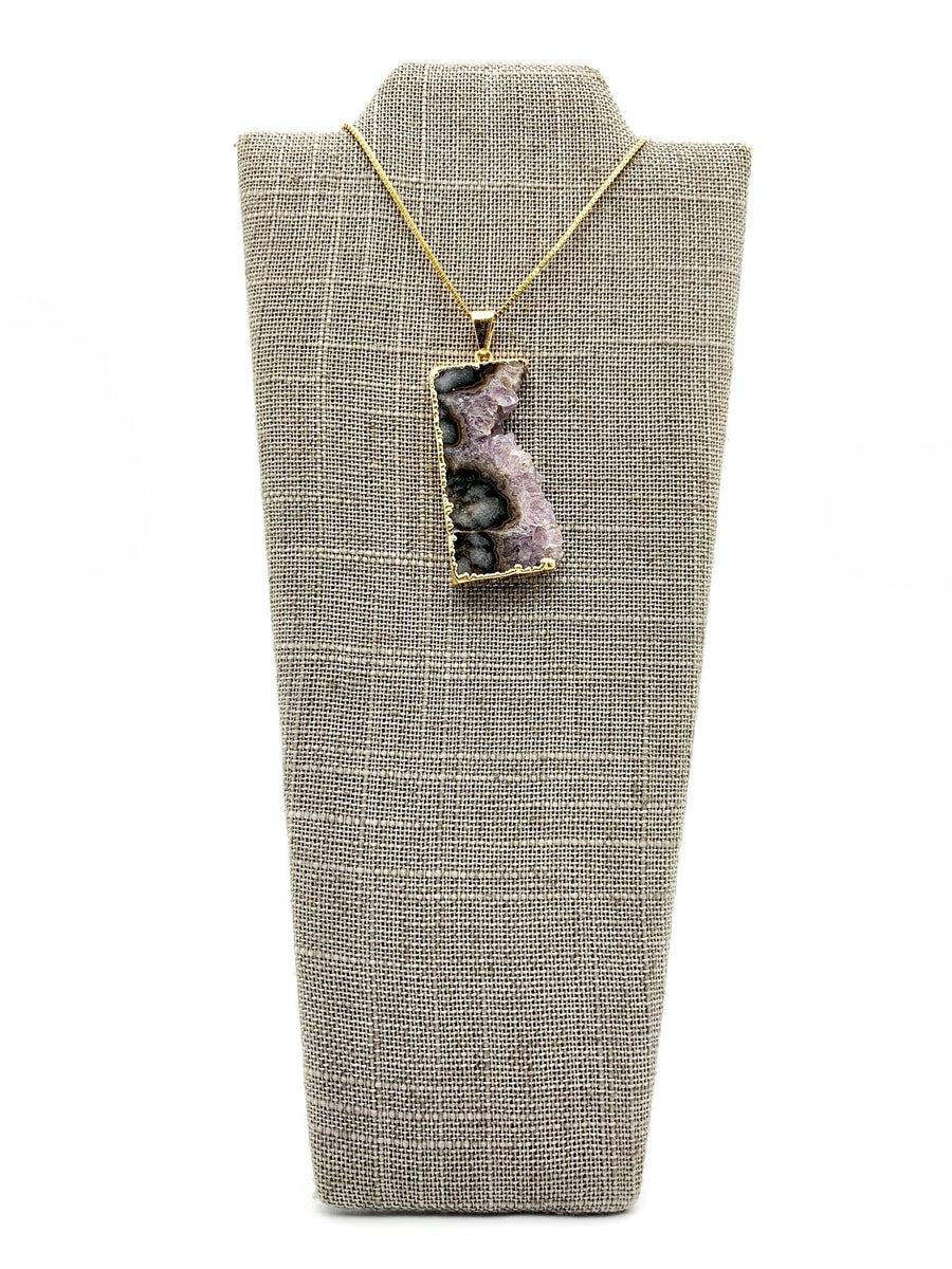 Amethyst Slice Gold Dipped Pendant Necklace