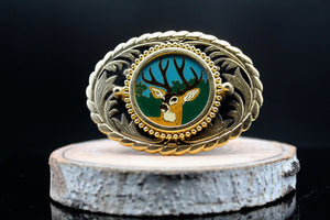 Vintage Wildlife Belt Buckle Forest Buck
