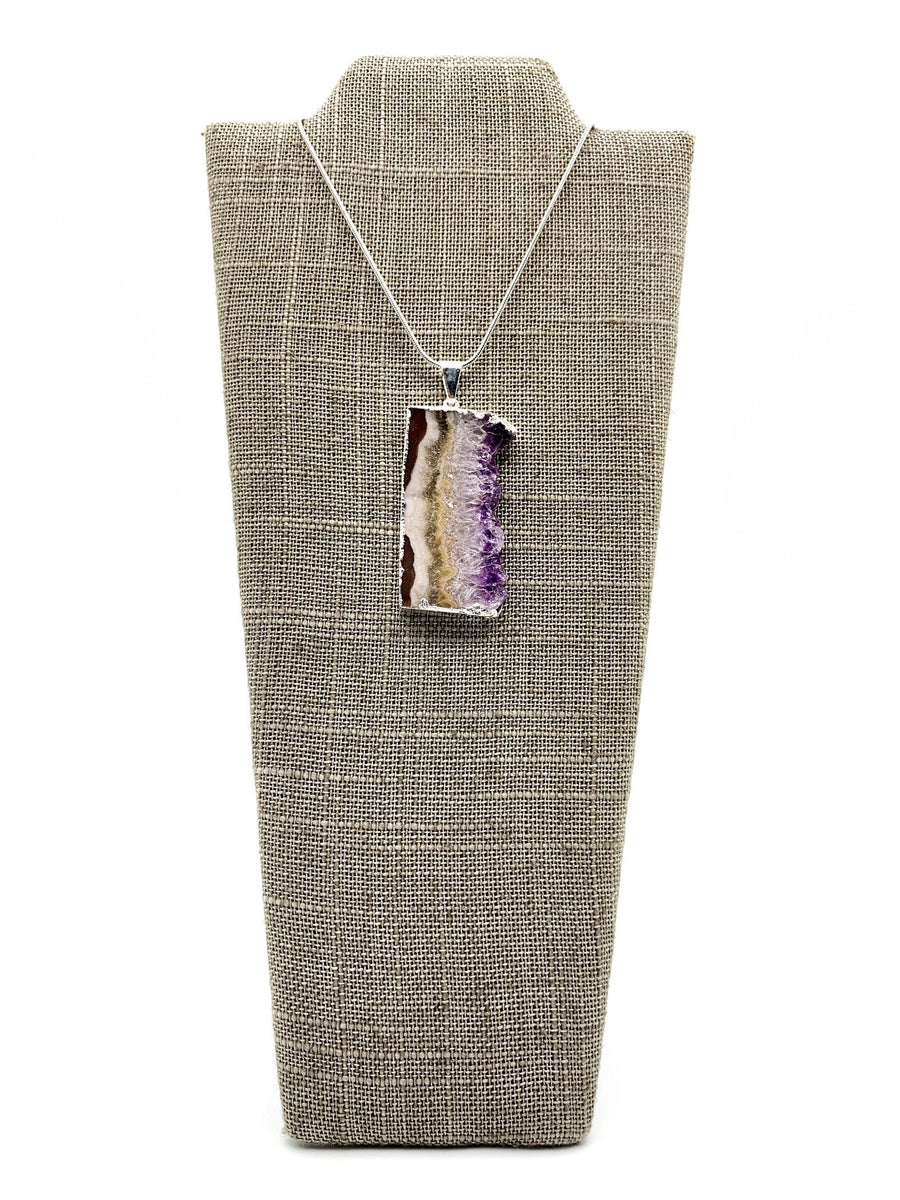 Amethyst Slice Silver Dipped Pendant Necklace