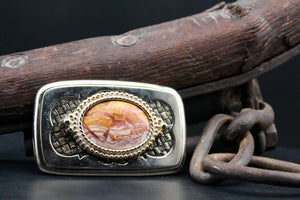 Vintage Gemstone Belt Buckle Picture Agate