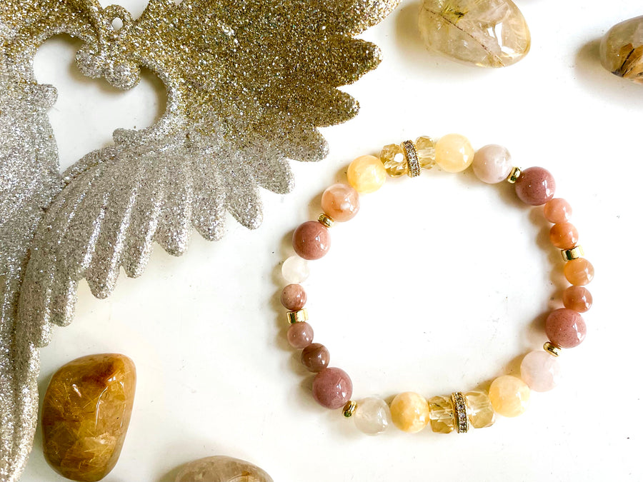 Connecting with Archangels || Archangel Azrael || Bracelet with Yellow Calcite, Flower Agate, Moonstone & Citrine